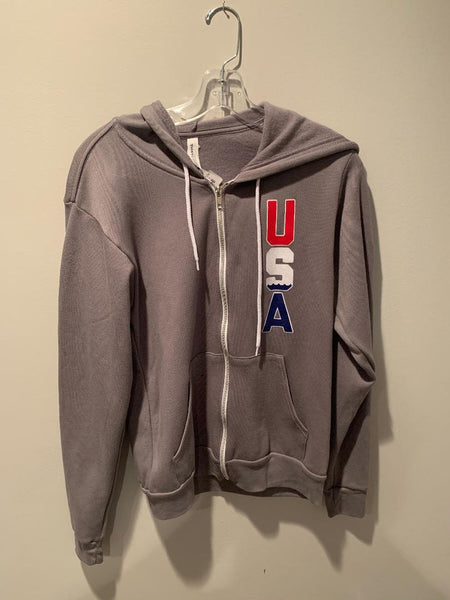 Grey SQ USA Zip Hoodie Size: S