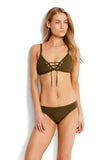 Dark Olive| Seafolly Inka Rib Hipster Bottom