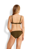 Dark Olive| Seafolly Inka Rib Lace Up Bralette Top
