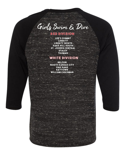 Red and White Division Baseball Tee