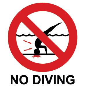 No Diving Sticker