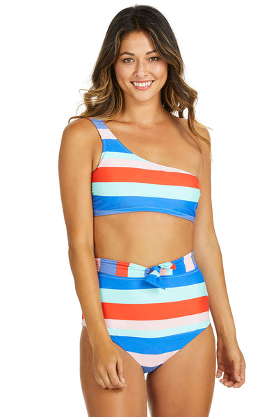 Cabana Girl Stripe| Raisins Halfmoon Bra Women's Swim Top