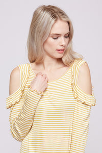 Cold Shoulder Yellow Stripe