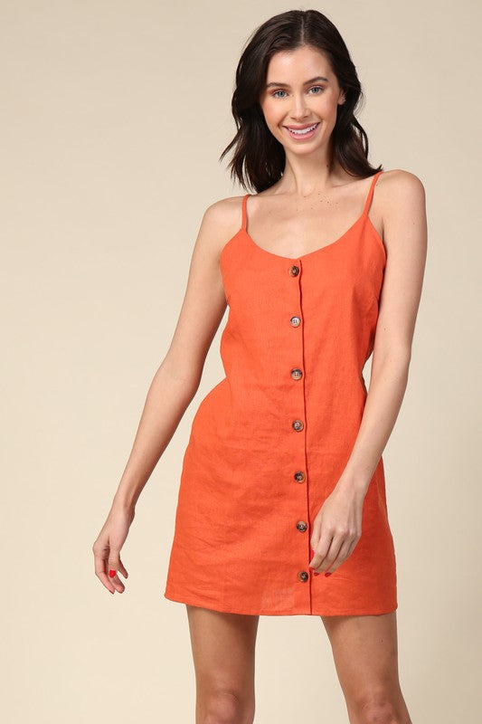 Orange Button Front Dress