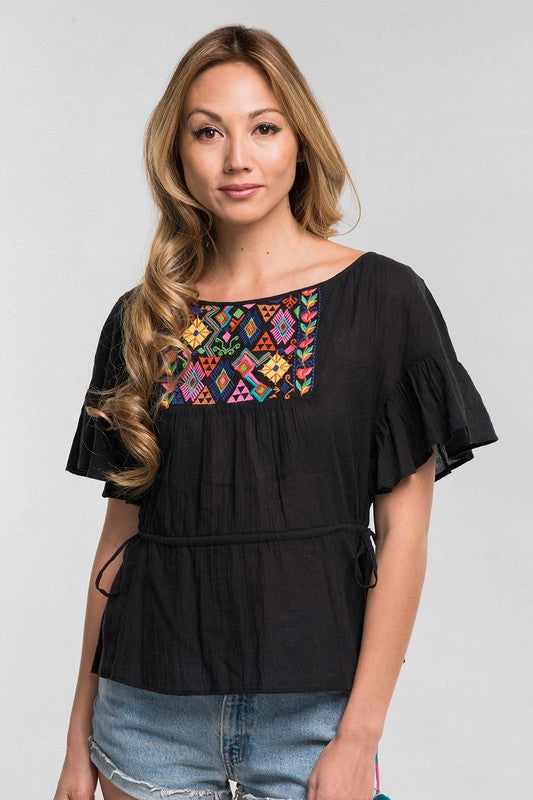 Black Embroidered Bib Top