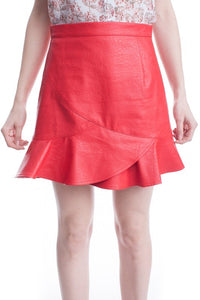 Red Faux Leather Ruffle Skirt
