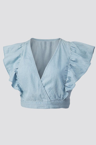 Denim Chambray Cropped Top