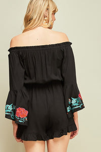 Black Embroidered Off Shoulder Romper
