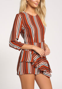 Striped Rust Romper
