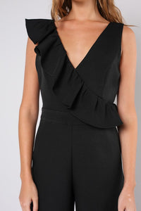 Black Ruffle Sleeve Jumpsuit