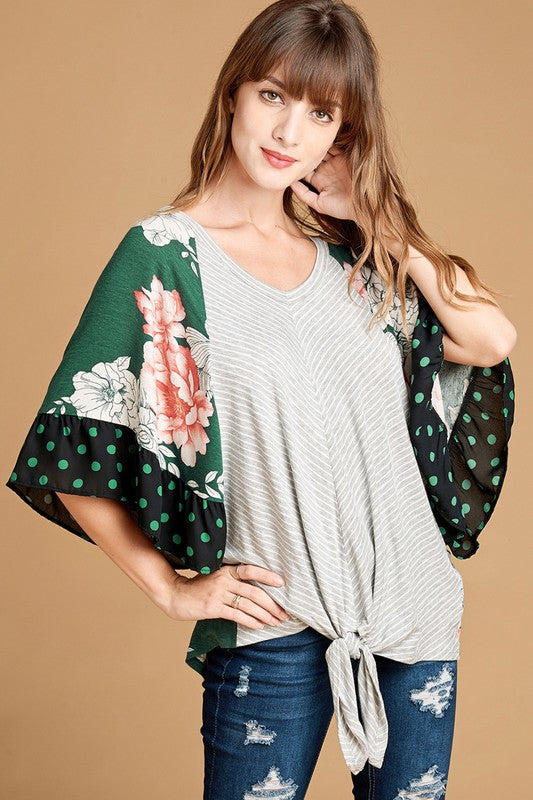 Green Mixed Print Top