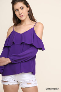 Ultra Violet Cold Shoulder Top