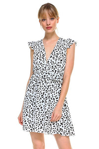 White Abstract Animal Print Dress