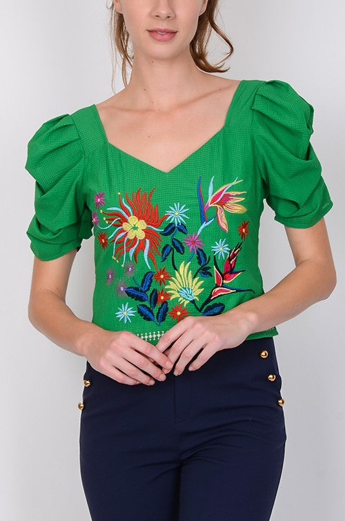 Green with Envy Embroidered Top