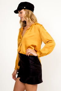 Satin Mandarin Collar Top- Mustard or Hunter Green