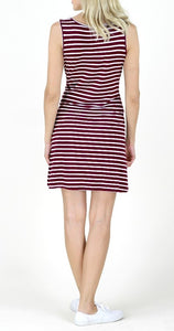 Striped Knotted Dress- Purple or Wine