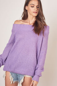 Lavender Off Shoulder Sweater