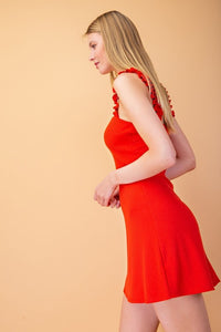 Red Ribbed Dress