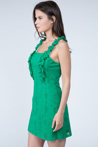 Green Ruffle Strap Dress