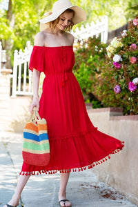 Tassel Hem Red Maxi Dress