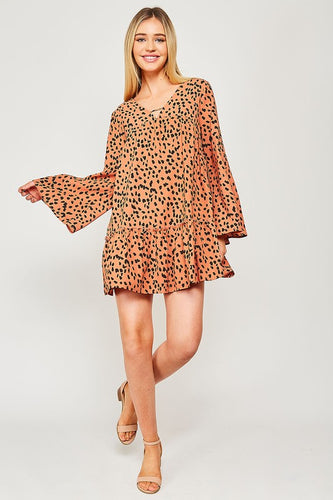 Rust & Black Spotted Dress