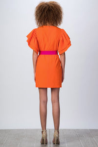 Orange Belted Dress