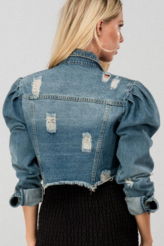 Vintage Washed Cropped Jacket