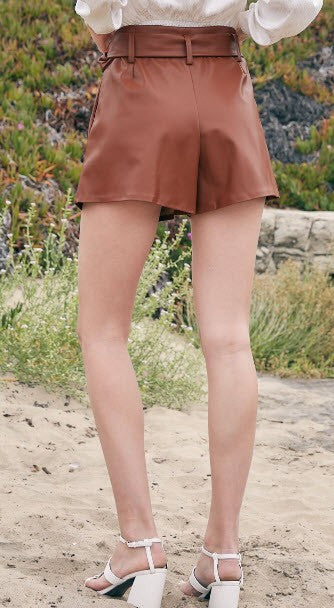 Belted Faux Leather Shorts- Black or Brown
