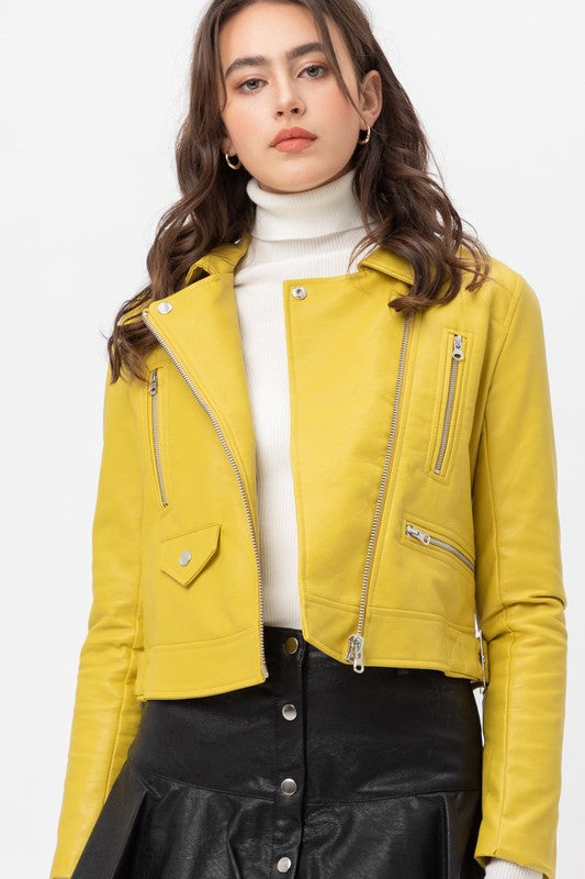 Lime Faux Leather Jacket