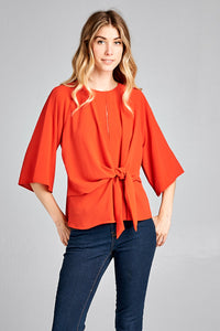 Rust Knotted Front Top