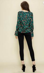 Green Leopard Tie Front Top