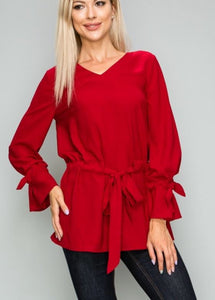 Dark Red Drawstring Top