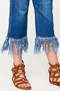 Frayed Denim Cropped Jeans