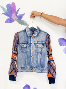 Knit Sleeve Denim Jacket
