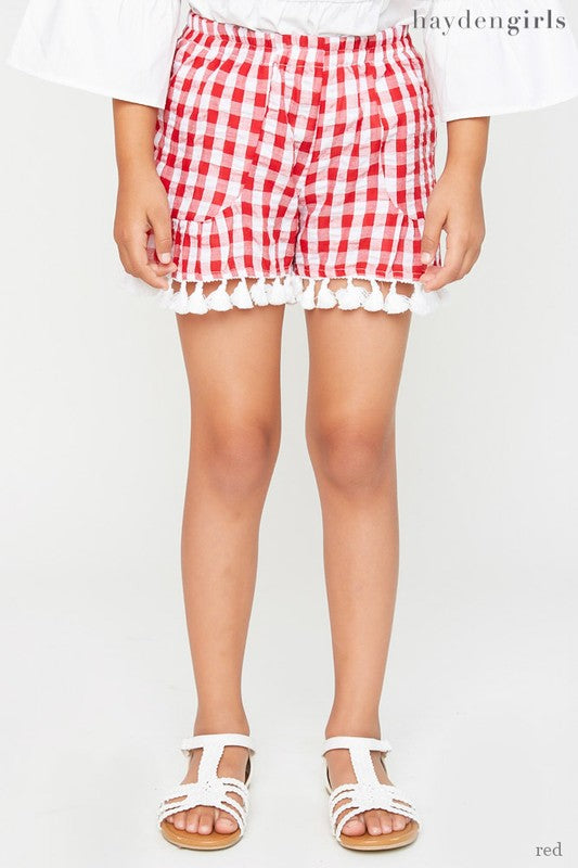 Tassel Trim Gingham Shorts