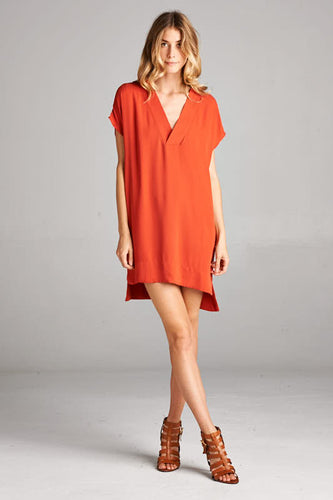 Rust V-Neck Dress