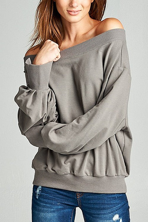 Charcoal Off Shoulder Sweatshirt