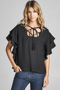 Ruffle Lace Up Top