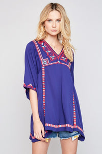 Violet Embroidered Tunic Dress