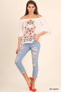 Lemon Embroidered Top