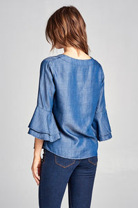 Denim Bell Sleeve V Neck Top