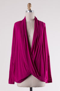 Magenta Draping Pull Over