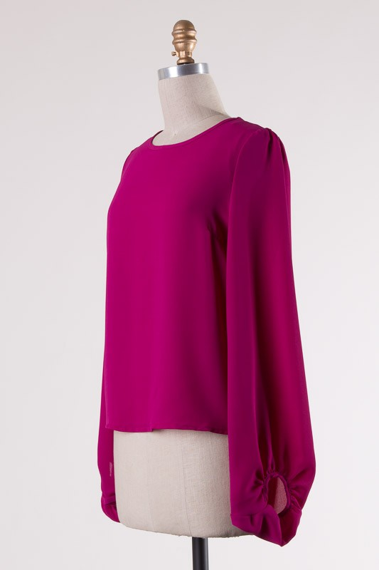 Magenta Back Tie Top