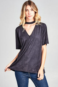 Suede Like Choker Top