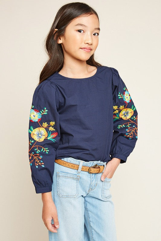 Girls Navy Embroidered Top