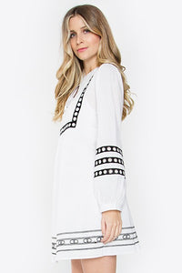 Black White Embroidered Shift Dress