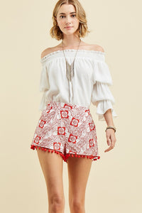 High Waisted Embroidered Shorts-2 Color Choices