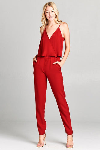 Red Wrap Jumpsuit