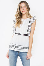 Black White Flutter Top