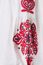 Navy & Red Embroidered Top